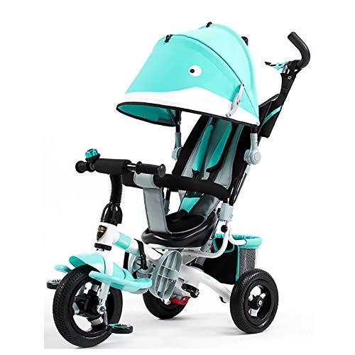 GIFT Triciclo De Niños De Bicicleta Ligero Cochecito De Bebé Dirigible 3 En 1 Multifunción Carro De Niños Triciclo Paseo En Juguetes Regalo,Green