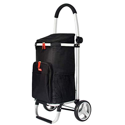 QXTT Shopping Trolleys 2 Wheels 40 L Detachable Rainproof Bag Food Thickening Insulation Aluminum Film- Hanger For Shopping Cart Foldable Shopper Handcart