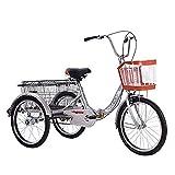 Faltbare Erwachsene Dreiräder 20 Zoll Single Speed 3 Rad Trike Fahrrad Radfahren mit Einkaufskorb Aluminiumrahmen Einstellbare Last 150 kg (Farbe: Rot), Dreirad