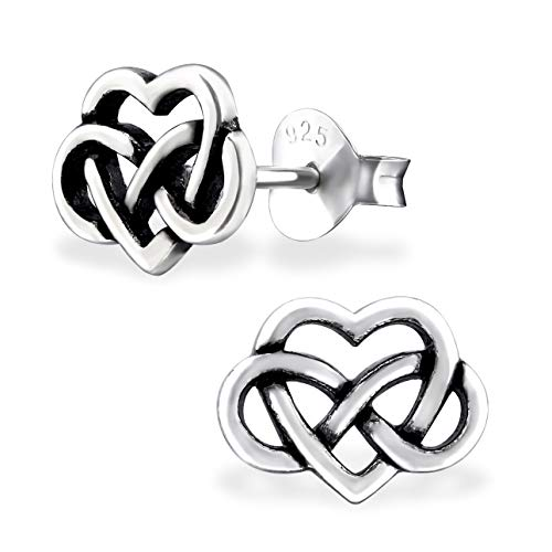 ICYROSE 925 Sterling Silver Small Infinity Love Heart Celtic knot Stud Earrings 31603 (Nickel Free)