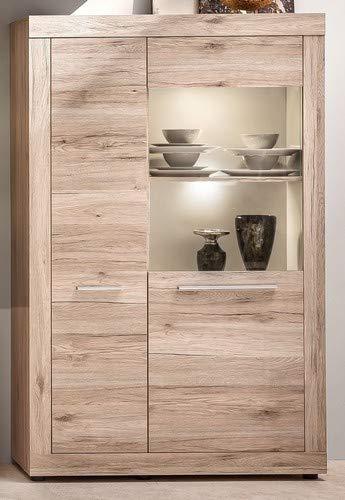 trendteam Wohnzimmer Vitrine Schrank Wohnzimmerschrank Passat, 97 x 150 x 37 cm in Eiche San Remo Sand Dekor mit viel Stauraum und offenen Fach
