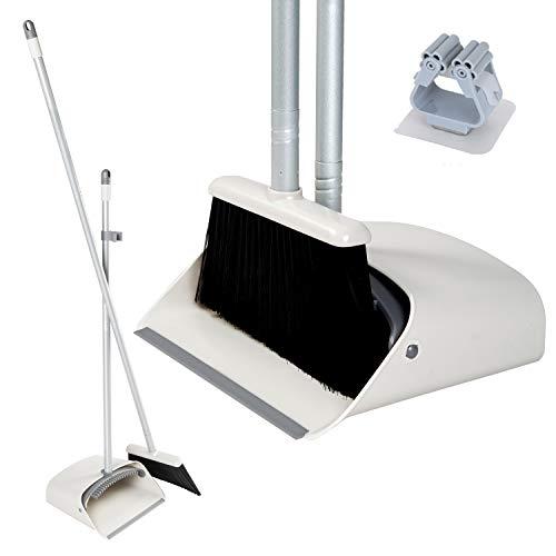 JEHONN Kehrset Besen und Kehrschaufelset mit langem Stiel selbstschließender Schaufel Stehen Sie auf und lagern Sie es in der Küche Büro für die Wohnküche mit Besenhalter