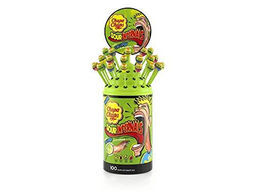 100 CHUPA CHUPS INFERNALS caramelle lecca lecca gusti assortiti (FRAGOLA-COLA-MELA-LIMONE)