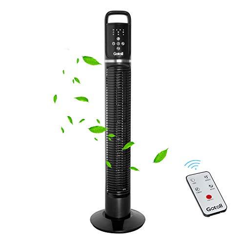 Gotoll Ventilador de Torre Negro 81CM,40W con Mando a Distancia,Ventilador de Pie Oscilación de 70°,Panel Táctil,3 Velocidades,3 Modos,7.5H Temporizador