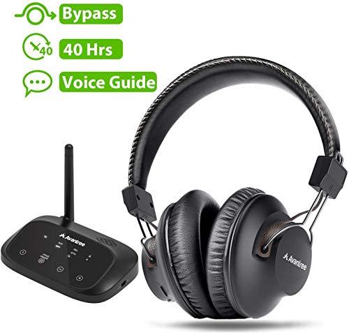 Avantree HT5009 Draadloze koptelefoon voor tv met bluetooth-zender (OPTISCH RCA-AUX), draadloos, plug & play, geen vertragingen meer, 40 uur accu.