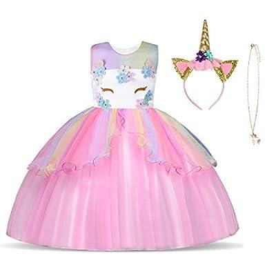 URAQT Disfraz de Unicornio, Vestido de Princesa Unicornio para Niñas, Vestido Elegante con Collar/Diadema para Cumpleaños/Cosplay/Boda, Edad 2-10 Años (Rosado, 3-4 años)