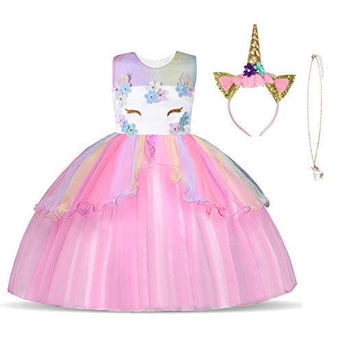URAQT Kinder Einhorn Kostüm Kleid, Mädchen Einhorn Rock, Blumen Mädchen Ärmellos Partykleid, Geburtstagskleid Festkleid, Fasching Karneval Verkleidung mit Unicorn Outfit Set, 150cm, Pink