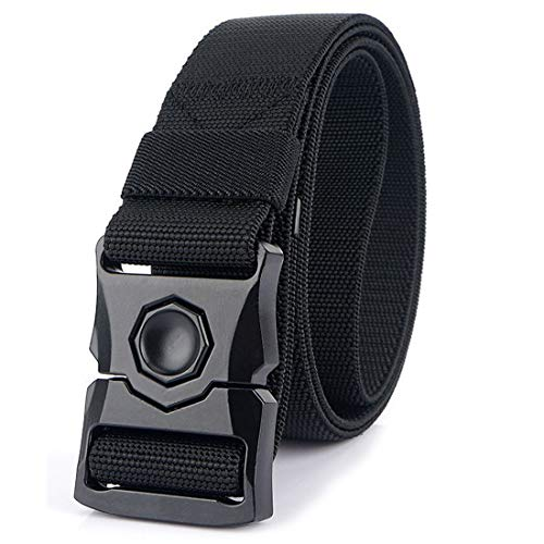 Hoanan Tactical Belt, Heavy Duty Quick- Release Metal Buckle Military Utility Stretch Nylon Army Riggers Belt