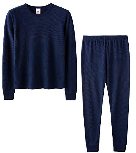LAPASA Boys Waffle-Knit Thermal Underwear Set Long John Top and Bottom B06 (XS(Height 105-115cm), Navy (Waffle Knit))