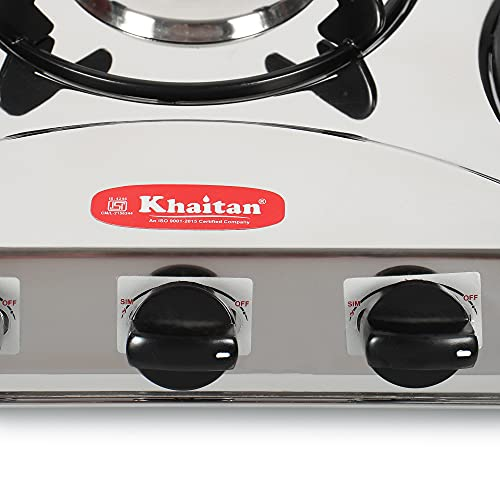 Khaitan 3 Burner Draw C PRO (with Extra Big Party Cooking Burner), Stainless Steel Manual Ignition LP Gas Stove with 1 year Warranty & Brass Burner (ISI Approved)