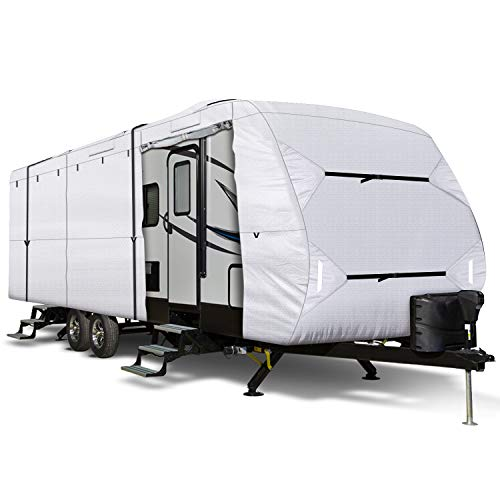 Leader Accessories 150D 27'-30' L Travel Trailer RV Cover with Adhesive Repair Patch, Ripstop Diamond Camper Cover