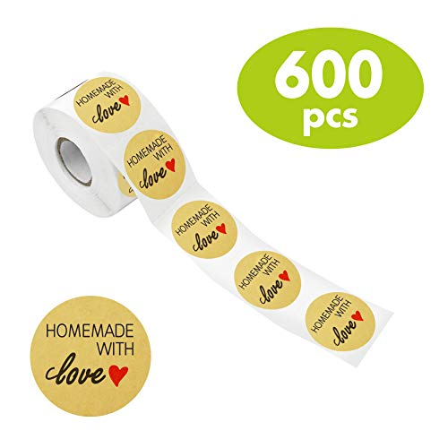 600 PCS Natural Kraft Homemade with Love Stickers in Roll with Perforation Line for Personal and Business Use (Each Measures 1.5