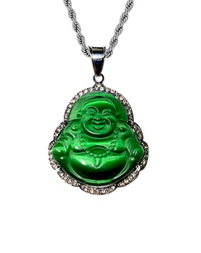 Laughing Buddha Big Green Iced Jade Diamond Pendant Necklace14k Gold Miami Cuban link 6mm Chain Genuine Certified Grade A Jadeite Jade Hand Crafted, Natural Green Obsidian Healing Statue Prayer (24) -  Shop-iGold