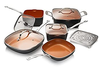 Gotham Steel 10-Piece Square Kitchen Set with Non-Stick Ti-Cerama Coating– 25% More Cooking Space than Round - Includes Skillets Fry Pans Stock Pots and Steamer As Seen on TV - Graphite