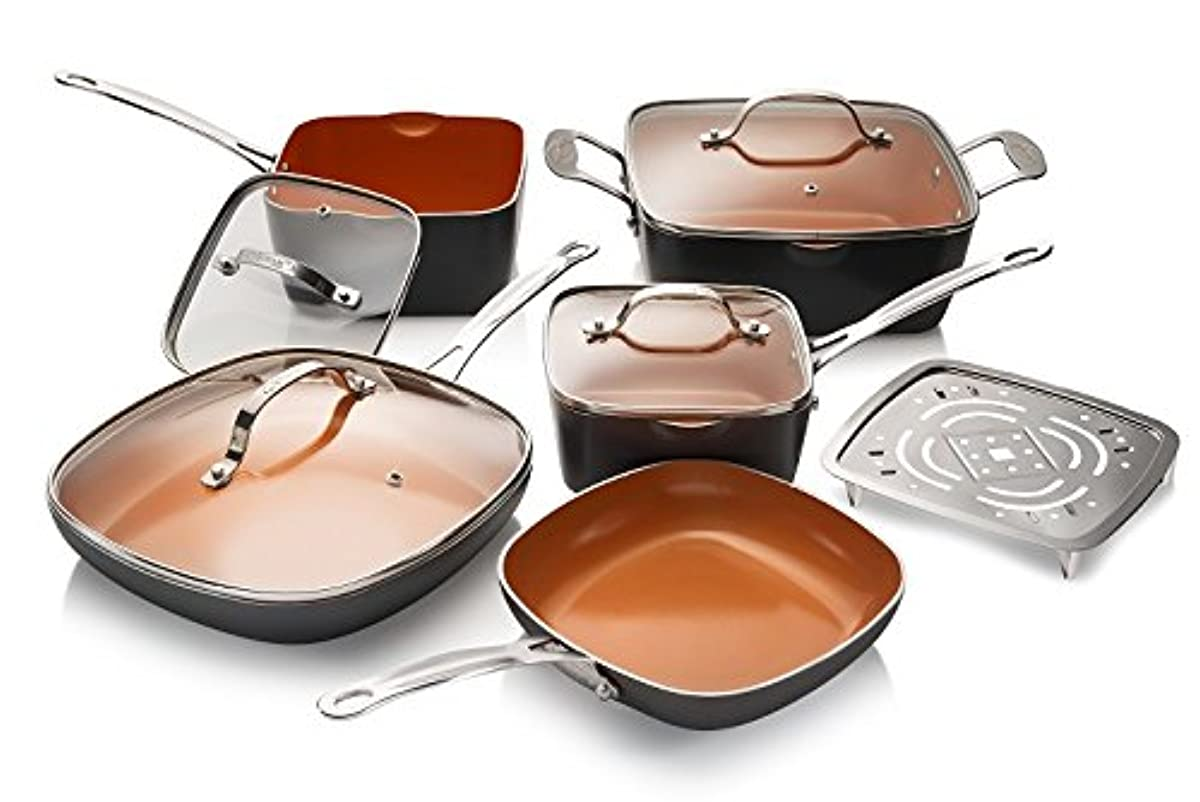 Gotham Steel 10-Piece Square Kitchen Set with Non-Stick Ti-Cerama Coating– 25% More Cooking Space than Round - Includes Skillets, Fry Pans, Stock Pots and Steamer, As Seen on TV - Graphite