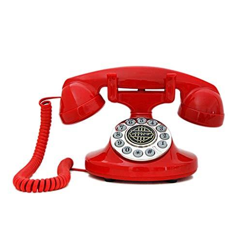 Sywlwxkq Teléfono Fijo Antiguo con Cable Creativo, teléfono Fijo con dial Giratorio Antiguo. Botón de Silicona, función de devolución de Llamada, Material de baquelita, Grosor Pesado.