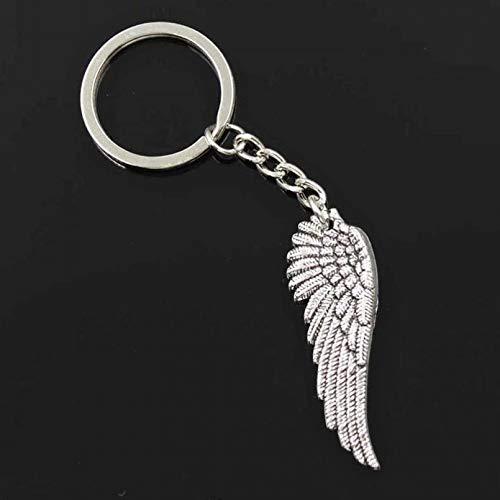 GEYKY Llavero de 30 mm para Hombre, Cadena de Soporte de Metal DIY, alas de ángel Vintage, Colgante de Regalo de 51x17 mm
