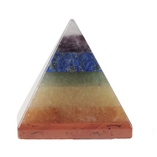 NVFED 7 Chakra Pyramide Reiki Heilung Energie Naturstein Kristall Quarz Papiergewehr Dekoration Handwerk Home Ornament Schmuck (Color : Small Size)