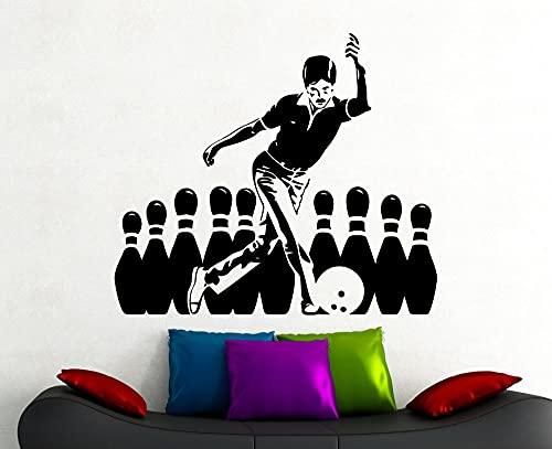 Jsnzff Bowling Sticker Calcomanía de Pared Deportiva Hogar Interior Sala de Estar Decoración Club de Bolos Vinilo Arte Etiqueta Impermeable 54x63cm Texto de Color Personalizable