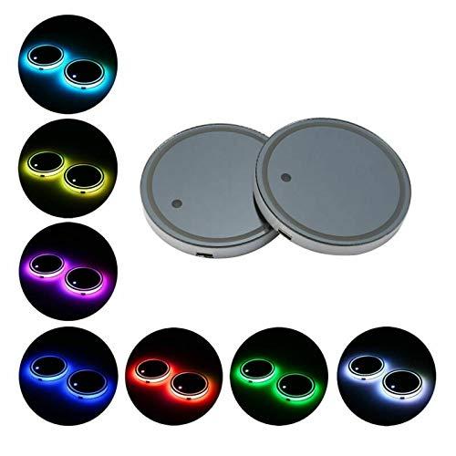 Riloer Sottobicchiere luminoso per auto, 2X LED Sottobicchieri illuminati con ricarica USB per accessori per decorazioni in atmosfera leggera