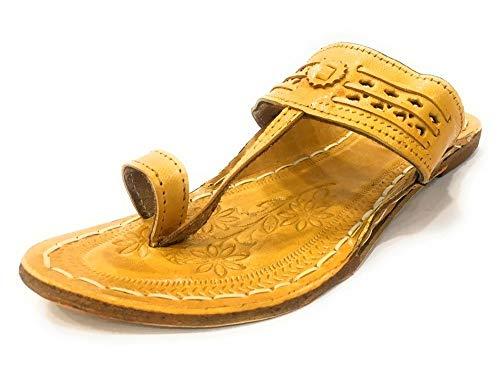 Step n Style Damen Kolhapuri Chappal Indische Jutti Flache Schuhe Ethno-Flipflop Mojari, Beige (beige), 37 EU