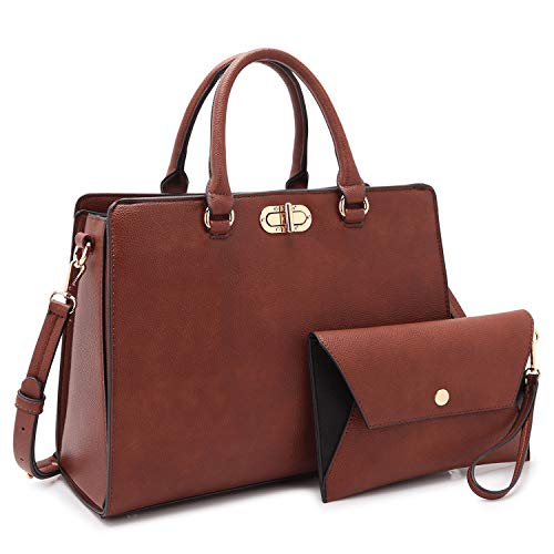 Dasein Women Fashion Handbags Tote Purses Shoulder Bags Top Handle Satchel Purse Set 2pcs Coffee