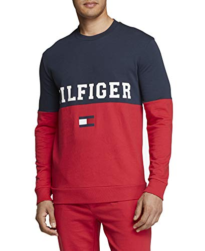 Tommy Hilfiger Men's Modern Essentials French Terry Sweatshirt, Dark Navy/Hilfiger Color Block, M