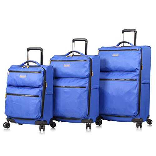 Lucas Designer Luggage Collection - 3 Piece Softside Expandable Ultra Lightweight Spinner Suitcase Set - Travel Set includes 20 Inch Carry On, 24 Inch & 28 Inch Checked Suitcases (Royal Blue)