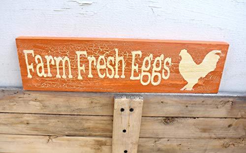 Placa de madera para pared, diseño de huevos frescos de granja, decoración de coupo, color naranja con efecto agrietado para el hogar pared/oficina