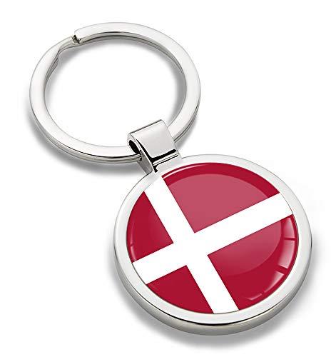 Skino sleutelhanger metaal sleutelring autosleutel geschenk metalen sleutelhanger sleutelhanger roestvrij staal Denemarken vlag Denmark KK 185