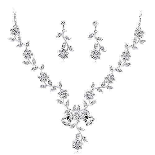 Hoveey Gargantilla para disfraz de boda, elegante juego de collar y pendientes en el día de San Valentín, cumpleaños