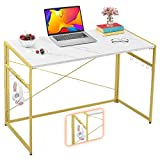 """Mr IRONSTONE 39.4"""" Folding Computer Desk, Writing Desk Easy Assembly with 10 Hooks, Foldable Metal Frame, Writing Workstation Laptop Table for Home Office (Laminate Marble)"""