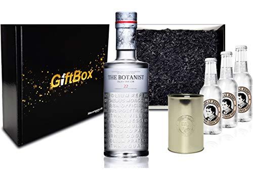 Gin Tonic Set Giftbox Geschenkset - The Botanist Islay Dry Gin 0,7l 700ml (46% Vol) + 3x Thomas Henry Elderflower Tonic 200ml inkl. Pfand MEHRWEG + Becher -[Enthält Sulfite]