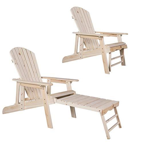kdgarden Cedar/Fir Log Wood Fanback Adirondack Chair with...