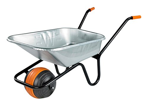 Walsall Wheelbarrows 85 Ltr Duraball in a Box Puncture Proof, Galvanised - Puncture Proof Wheel