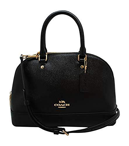 Coach Womens Mini Sierra Satchel Handbag, Crossgrain Leather, Detachable Crossbody Strap (Mini, Black),Medium