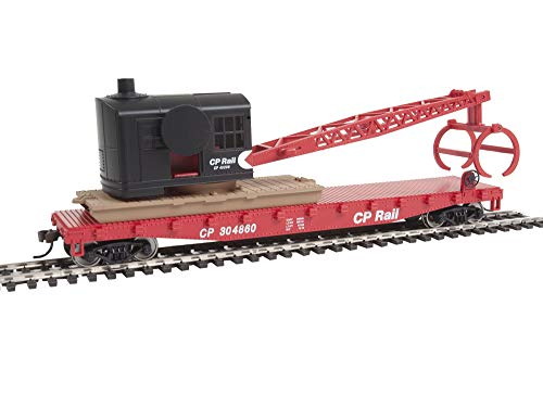 Walthers Trainline HO Scale Model Flatcar with Logging Crane - Canadian Pacific 304860, Red, Black, Multimark Logo