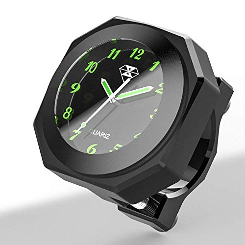 """Motorrad wasserdichte Uhr schwarz blau rot silber für Fahrrad/Motorrad/SUV verschiedene Modelle, passend für 7/8\""""oder 1\"""" Lenker, Halterungsdurchmesser 22-28mm(schwarz)"""