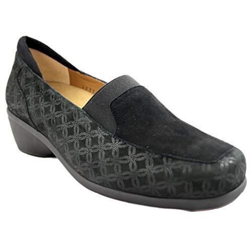 Alviflex 7968 - Zapatos de Mujer de Piel Negra Grabada con Tacón Ancho Especial y Plantilla Extraible - 38, Negre