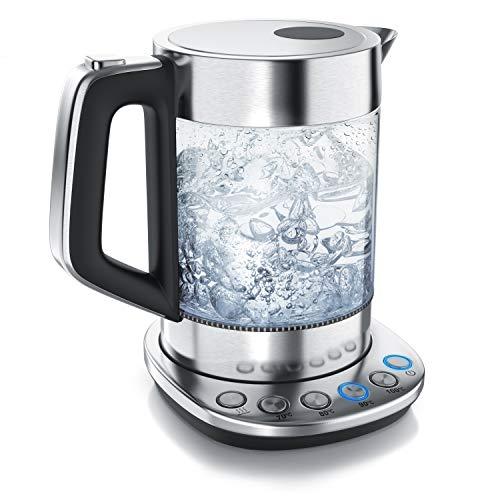 Arendo - Glas Wasserkocher mit Temperatureinstellung - Warmhaltefunktion 30min - 1,5 Liter Füllmenge - robustes Borosilikatglas - Basisstation aus Edelstahl - Modernes Design - Zertifiziert BPA Frei