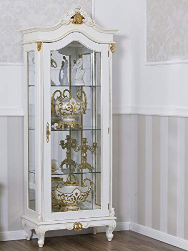 SIMONE GUARRACINO LUXURY DESIGN Vitrine Chantal Barock Stil Decape 1 Tür elfenbeinweiß und Blattgold