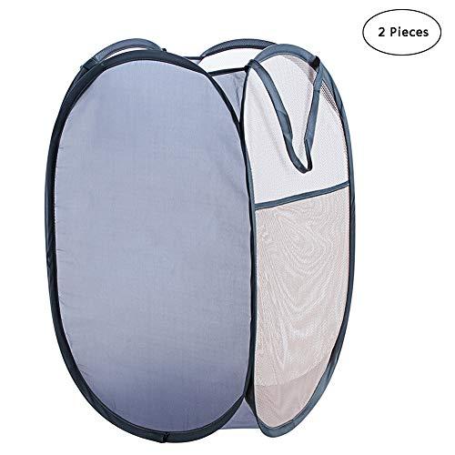 CHAO 2-delige mesh wasmand met zijdelingse zakken, inklapbaar, robuust en duurzaam, draagbaar, multifunctioneel, geschikt voor gezinnen, hotels of reizen