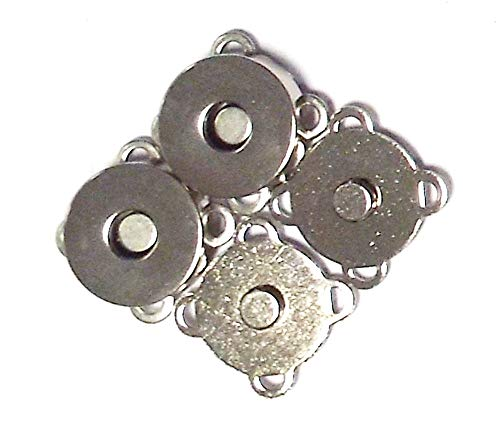 Großhandel für Schneiderbedarf 2 Magnetverschlüsse Silber 18 mm mit Gegenstück, zum Annähen