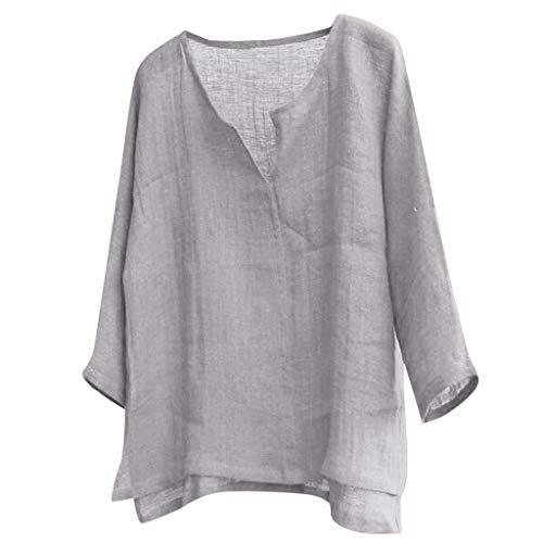 ZuzongYr - Camisa para hombre de lino, manga 3/4, sin cuello, transpirable, cómoda, monocroma, larga gris XXXXXL