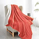 """Walensee Sherpa Fleece Blanket (Throw Size 50""""x60"""" Coral) Plush Throw Fuzzy Super Soft Reversible Microfiber Flannel Blankets for Couch, Bed, Sofa Ultra Luxurious Warm and Cozy for All Seasons"""