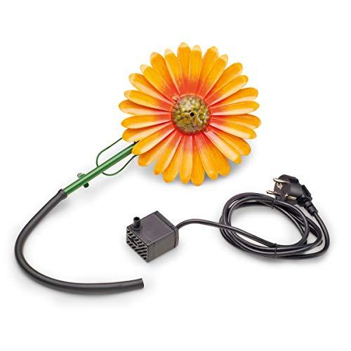 AQUANIQUE Speier Set Gänseblümchen orange SSDW 200i, Wasserspiel, Wasserspeier aus Metall mit Pumpe, 200 l/h, 1,5m Kabel, Gartendekoration