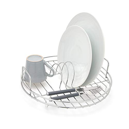 simplywire - Circular Dish Drainer - Round Sink Drying Rack - Chrome
