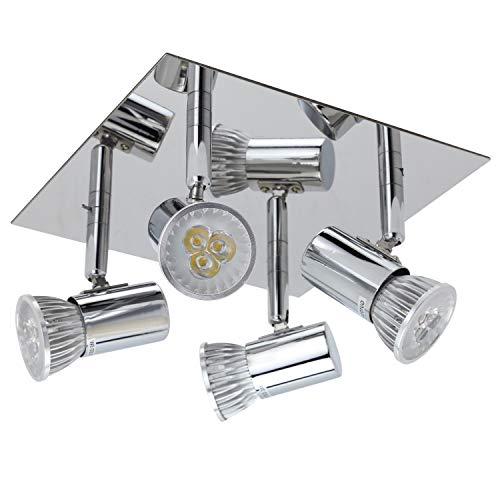 LED 4-flammige Deckenleuchte - Schwenkbar Spotlampe mit 4x 5W GU10 Fassungen Rechteckige Deckenstrahler Modern Wohnzimmer LED Deckenspot für Küche Flur Schlafzimmer
