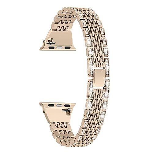 Wilbur - Correa de acero inoxidable para Apple Watch Series 5 4 3 2 1 para Apple Watch Series 5, 4 y 2 1, 40 mm, 44 mm, 38 mm y 42 mm, Dorado champán, 42mm -44mm