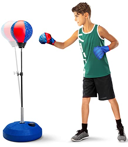 TechTools Punching Bag for Kids, - Includes Kids Boxing Gloves - Kids Boxing Set with Stand, Height Adjustable, Boy Toys, Gifts Idea for Boys and Girls Ages 3 - 8 Years Old (Kids)